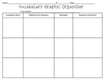 Leveled Vocabulary Graphic Organzier