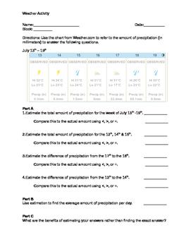 Leveled Weather Activity - Comparing Decimals