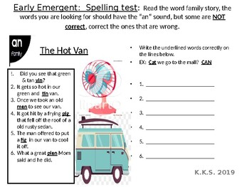 Leveled Word Family Spelling Tests in Context