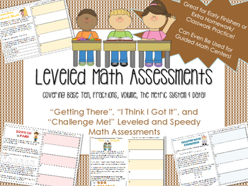 Leveled and Differentiated Math Assessments