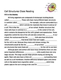 Leveled/Differentiated Cell Structures Cloze Reading
