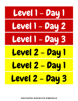 Leveling System Cue Cards