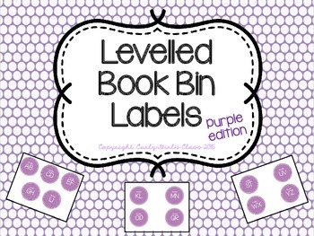 Levelled Book Bin Labels in Purple