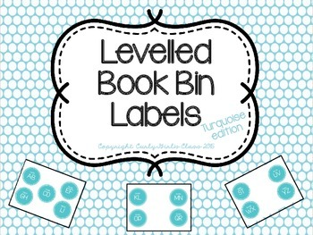 Levelled Book Bin Labels in Turquoise