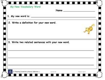 Freebie!  My Vocabulary Journal (OG)