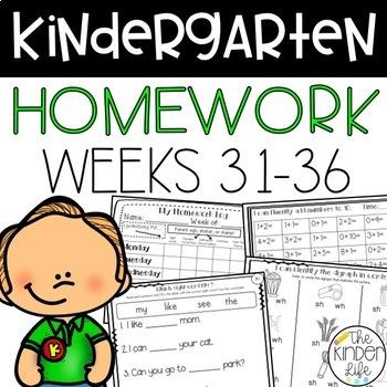 Kindergarten Differentiated Homework Levels 31-36