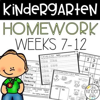 Kindergarten Homework NO PREP Levels 7-12