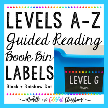 Levels A-Z Guided Reading Book Bin Labels {Black + Rainbow Dot}