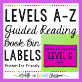 Levels A-Z Guided Reading Book Bin Labels {Printer-Friendly Blackline}