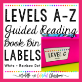 Levels A-Z Guided Reading Book Bin Labels {White + Rainbow Dot}