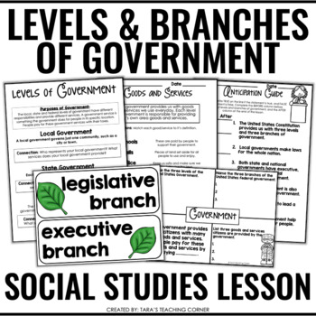 Levels and Branches of Government- Complete Lesson (No Prep)