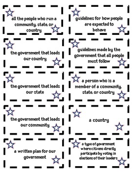 Levels of American Government (Federal, State, & Local) Vocabulary Matching Game
