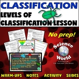 Levels of Classification Lesson- Biology Notebook