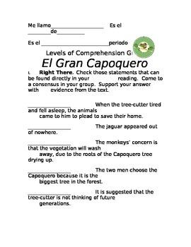 Levels of Comprehension Guide, El Gran Capoquero