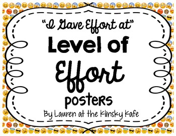 Levels of Effort Posters- Emoji Theme