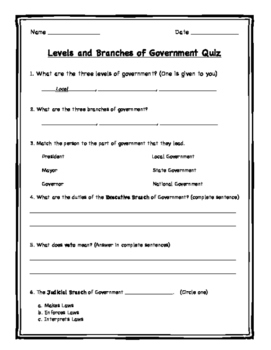 Levels of Government & Branches of Government Quiz