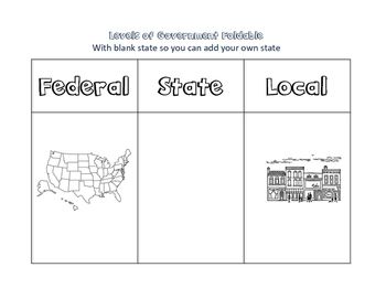 Levels of Government Interactive Notebook Foldable