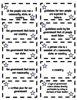 Levels of Government Vocabulary Game