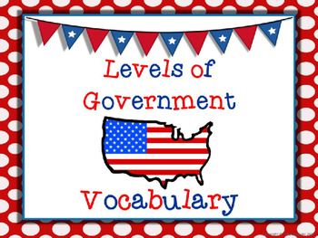 Levels of Government Vocabulary Powerpoint with Organizer