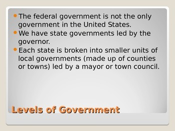 Levels of Government and Tennessee's Government