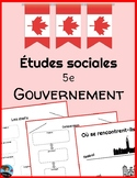 Levels of Government in Canada: FRENCH Worksheets + Quiz