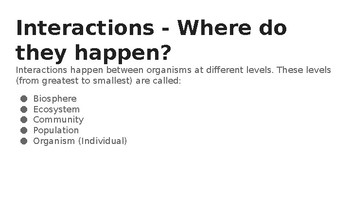 Levels of Interactions Between Organisms PPT