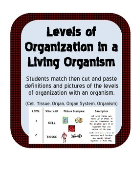 Levels of Organization in Living Organisms Match, Cut & Paste definitions, pics