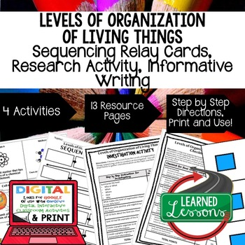 Levels of Organization of Living Things Sequencing, Research, and Writing