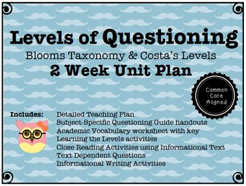 Levels of Questioning (Bloom's and Costa's) 2-week Common Core Unit