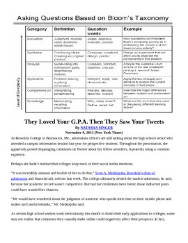 Levels of Questioning Practice Lesson