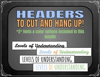 Levels of Understanding Posters (Chalkboard) *w/ Rubrics*