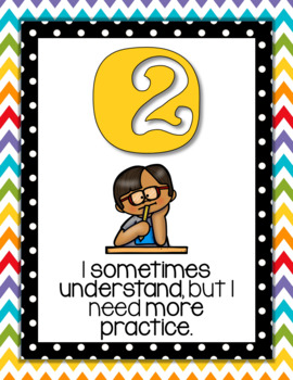 Marzano's Levels of Understanding Posters Chevron and Polka dot with pictures