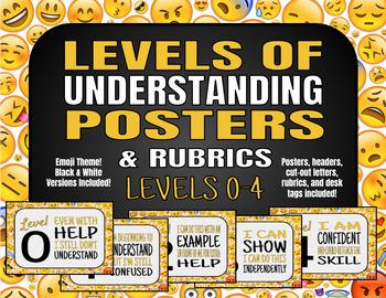 Levels of Understanding Posters (Emoji) *w/ Rubrics*