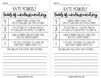 Levels of Understanding - Student Assessment Scales