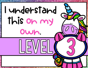 Levels of Understanding- Unicorn Themed Posters and Rubrics