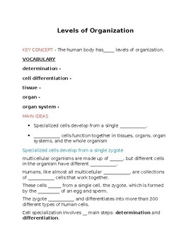 Levels of organization notes