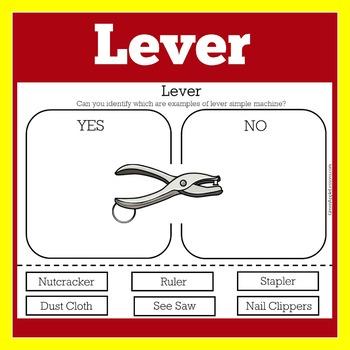 Levers Worksheet   Simple Machines Worksheet   Simple Machine Activity
