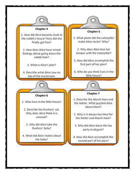 Lewis Carroll ALICE'S ADVENTURES IN WONDERLAND - Discussion Cards
