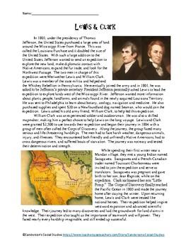 Lewis & Clark Expedition - Reading Comprehension Worksheet