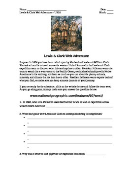 Lewis & Clark Online Activity