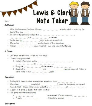 Lewis & Clark PowerPoint and Note Taker