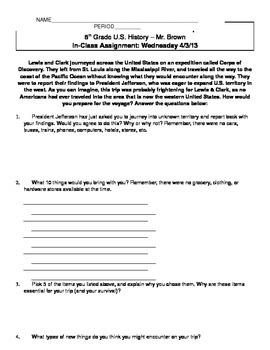 Lewis & Clark Preparation Assignment