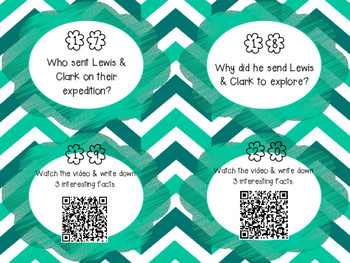 Lewis & Clark QR Code Research Task Cards