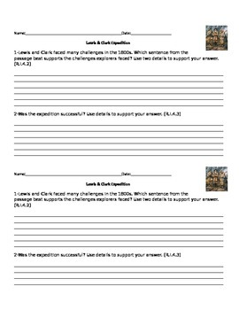 Lewis & Clark + Quick Assessment + speaking and writing frames