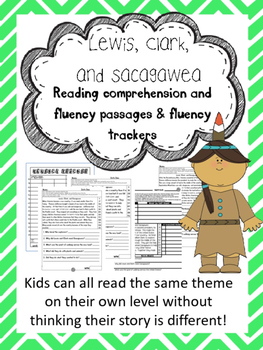 Lewis, Clark, and Sacagawea fluency and comprehension leveled passage