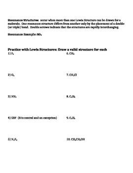 Lewis Structures: Notes and Practice Problems