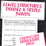 Lewis Structures for Double and Triple Bonds Chemistry Homework Worksheet