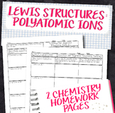 Lewis Structures for Polyatomic Ions Chemistry Homework Worksheets