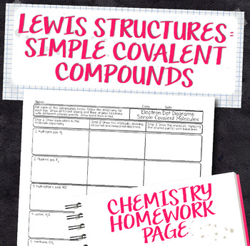 Lewis Structures for Simple Covalent Compounds Chemistry Homework Worksheet