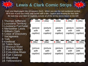 Lewis and Clark Comic Strip Activity: fun, highly visual & engaging 25-slide PPT